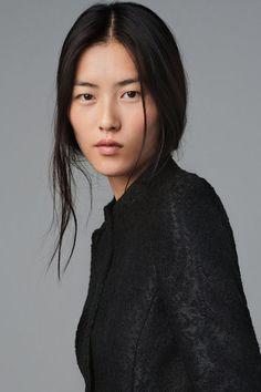 Flawless complexion on Liu Wen.
