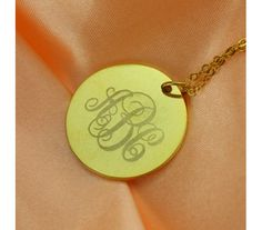 Disc Engraved Monogram Necklace in Gold Plated DK20