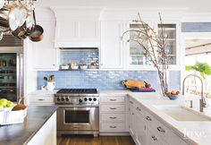 blue subway tile backsplash | Carrier and Company Interiors