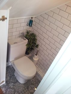Understairs Toilet Idea Understairs Toilet Subway Victorian Tiles Down Understairs Ideas idea Subway tiles Toilet Understairs Victorian Understairs Toilet, Small Bathroom, Toilet Tiles, Downstairs Cloakroom, Toilet, Attic Bathroom, Victorian Tiles, Small Downstairs Toilet, Bathroom Under Stairs