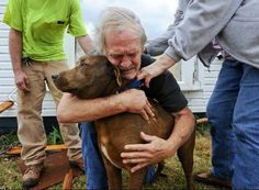"""From Dog Bless You on FB: """" Coco and Cook reunite after a tornado raves through their home in Alabama"""""""