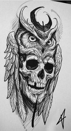 Marquesan tattoos owl skull tattoo, skull tattoo design for men,. - Marquesan tattoos owl skull tattoo, skull tattoo design for men, simple skull tatto - Owl Skull Tattoos, Owl Tattoo Drawings, Tattoo Sketches, Body Art Tattoos, Small Tattoos, Sleeve Tattoos, Tattoo Owl, Tattoo Animal, Tattoo Hand