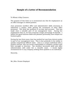 Recommendation Letter Previous Employer  Letters Of Reference