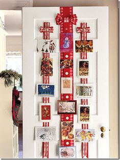 photos boards with ribbon for teens | Hanging cards on a door with decorative ribbons is also a fun idea ...