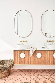 Pink Tiles, Gold Tapware, Vanity The post Three Birds Renovations Bathroom appeared first on House. Decor, Bathroom Interior Design, Interior, Cheap Home Decor, Home Decor, House Interior, Bathroom Renovations, Pink Tiles, Bathroom Decor