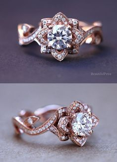 Vintage Rose Gold Halo Engagement Ring That We Call The Gwendolyn