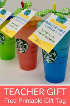 Starbucks color changing cups teacher gift with free printable gift tag all things target matching ice cream scoops learning colors file folder games for kids preschool activities homeschool teaching tools daycare teachers Daycare Teacher Gifts, Teacher Gift Tags, Teachers Day Gifts, Teacher Cards, Teacher Christmas Gifts, Great Teacher Gifts, School Gifts, Starbucks Cup Gift, Starbucks Holiday Cups 2019