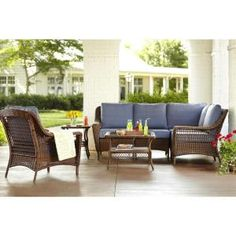 Hampton Bay Spring Haven Brown 5-Piece All-Weather Wicker Patio Sectional Seating Set with Sky Blue Cushions 66-20355 at The Home Depot - Mobile