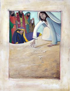 Jesus and the woman taken in adultery | Illustration by Carla Manea: 2009