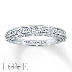 From the Vera Wang LOVE Collection this exceptional wedding band is alive with Matching Wedding Rings, Wedding Rings Simple, Beautiful Wedding Rings, Wedding Rings Vintage, Diamond Wedding Rings, Bridal Rings, Vintage Engagement Rings, Wedding Ring Bands, Vintage Rings