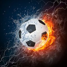 Soccer Ball Wall Mural: Sports: Soccer: Fire and Ice combine to bring out the elements in this mural. The ball is centralized almost as to neutralize the two forces and create an energized vibe. Any wall mural image that you choose can be printed on demand. Your specifications will be met for any interior design or home decor project. Create your own wallpapers, wall art and more by exploring our football, soccer, baseball, basketball and extreme sports collections.