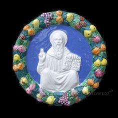 Della Robbia ceramic plaque ST. BENEDICT Italy - DELLA ROBBIA SHOP  www.studioartistico.com