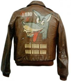 """The A-2 jacket of Richard E. Fitzhugh, the pilot of the B-17G """"El Lobo II,"""" who completed 30 missions with the 457th Bomb Group. Then in 1946, he flew Winston Churchill on a speaking tour, and """"El Lobo II"""" became the subject of a model kit. -"""