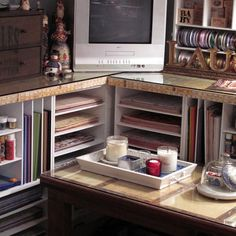 Countertop edged with yardsticks - graphic and useful!  from houzz.com - Cozy Little House