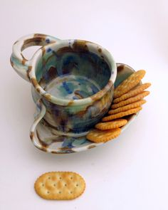 Soup and Cracker Bowl Stoneware Pottery by Hertzpottery on Etsy https://www.etsy.com/listing/68572442/soup-and-cracker-bowl-stoneware-pottery