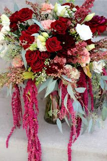 Merlot and Blush Bridal Bouquet: blush and burgundy roses, white lisianthus, blush carnations, white wax flower, atriplex, and seeded eucalyptus // Celebration Flair