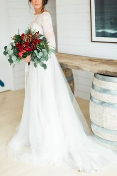 Styled Wedding Shoot at Lightfoot & Wolfville Vineyards, NS via Styled In Lace | Wild Red Rose Bouquet