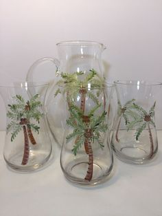 Collectible Glass Palm Tree Pitcher With 3 Matching Glasses Gift | Collectibles, Decorative Collectibles, Pitchers | eBay!