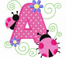 26 ladybug applique font letters machine embroidery by FunStitch, $15.00