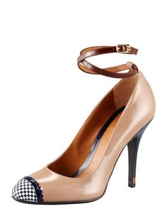 Leather Ankle-Wrap Pump by Fendi at Bergdorf Goodman.