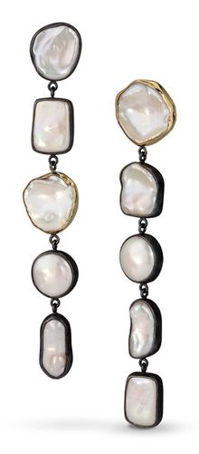 """Falling Snow"" Pearl Duster Earrings"