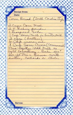 Cornbread (South Carolina Style) recipe. Drill down to original website and find 4 vintage recipes.