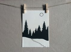 Tracks in the Snow LINOCUT Hand printed by WoodenSpoonEditions, $30.00