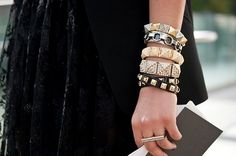 A wrist staple: stacked bracelets. Extra points for lots of sparkle!