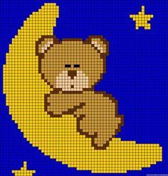 Moon perler bead pattern by cl Crochet Pixel, Graph Crochet, Crochet Diagram, Crochet Patterns, Free Crochet, C2c Crochet Blanket, Tapestry Crochet, Knitting Charts, Baby Knitting
