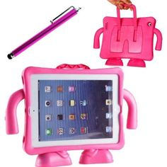 Happy Hours Children Safe Rugged Durable Case Light Weight Super Protection Convertable Stand Cover Case for Apple New Ipad 2 3 4 9.7'' Inch Shock Proof EVA Thick Foam Handle for Kids Friendly (Hot Pink) + Free Gift Stylus Pen by Happy Hours, http://www.amazon.com/dp/B00E0MDIFI/ref=cm_sw_r_pi_dp_A6krsb1AR8K6C