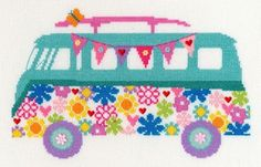 Van Bouquet - VW Camper van cross stitch by Bothy Threads