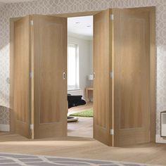 Bespoke Thrufold Varese Oak Flush Folding 2+2 Door with Aluminium Inlay - Prefinished - Lifestyle Image.    #oakdoors #foldingdoors