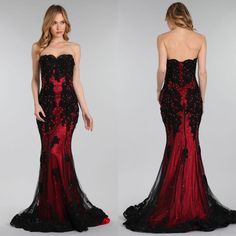 Gothic Black and Red Custom Made Prom Dresses 2016 Strapless Beads Mermaid Party Evening Gowns Maxi Long Formal Wear for Women Sale Cheap