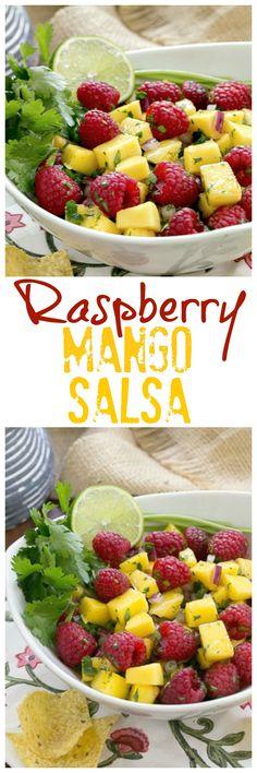 Raspberry Mango Salsa | SO addictive served with corn chips! @lizzydo