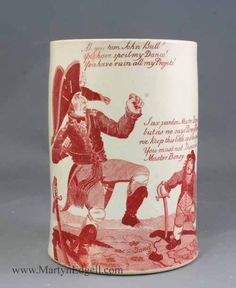 Creamware mug printed with Napoleonic cartoons, circa 1805