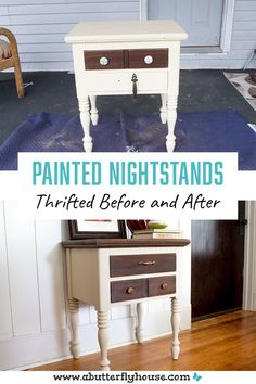Two-toned thrifted nightstand before and after shows all the details of the transformation! Beautiful furniture flip that anyone could do with a little CitriStrip and paint! #furnitureflip #thrifted