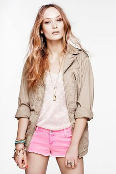 hot pink short shorts with trench