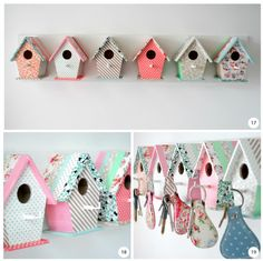 Birdhouse Key Hooks...Dollar Store birdhouses, scrapbook paper or paint instead of washi tape, regular cup hooks if you remove the wood perch.