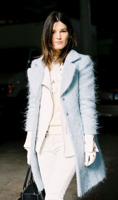 Hanneli Mustaparta- ice blue & white leather gloves