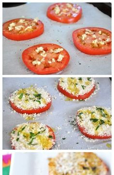 Tomato Bruschetta- 1 lg tomato sliced minced garlic to taste crumbs parmesan cheese salt & pepper drizzle EVOO 425 - Cooking Food Stock Imagery Veggie Dishes, Vegetable Recipes, Vegetarian Recipes, Cooking Recipes, Food Dishes, Keto Recipes, Breaded Tomatoes Recipe, Baked Parmesan Tomatoes, Vegan Parmesan