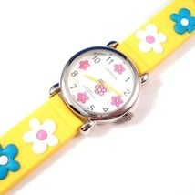 Flower Watch Yellow Band Strap Rubber Material Adjustable