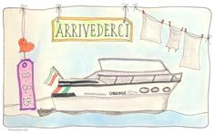Venetie! En dan slapen op een speedboat. #illustratie #artjournal #watercolour #vakantie #italie #Sandysign. http://sandysign.nl