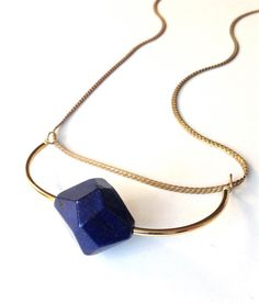 Simple Modern Geometric Gemstone Statement Necklace by missbatch.etsy.com featuring blue lapis lazuli.