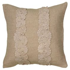Add charming style to your sofa, chaise, or bed with this lovely pillow, beautifully crafted of jute and cotton and showcasing doily appliques.  ...