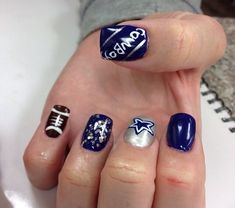 """Check out the amazing looking """"Super Bowl Nail Ideas"""" right from this post! As we all know that you can have all the flowery and floral nail designs, you can. Dallas Cowboys Nail Designs, Dallas Cowboys Nails, Football Nail Designs, Football Nails, Dallas Cowboys Football, Frensh Nails, Bling Nails, Cute Nails, Pretty Nails"""