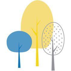Modern Woodland nursery wall art tree, yellow, gray, blue, digital art... (91 TWD) ❤ liked on Polyvore featuring home, home decor, wall art, modern home decor, grey tree, gray home decor, modern wall art and gray tree