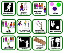 pienet kortit kouluun Physical Education, Special Education, Finnish Language, Physics, Kindergarten, Preschool, Games, Kids, Classroom Ideas