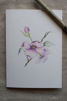Pink Dogwood Watercolor Painted Card Original Art by SunsetPeonies