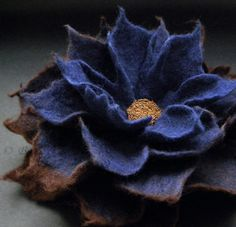 Deep Blue Ink Coffee Chocolate Felt Flower Brooch