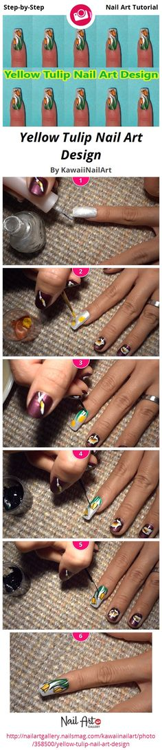 Yellow Tulip Nail Art Design - Nail Art Gallery Step-by-Step Tutorial Photos
